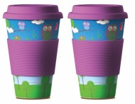 Set 2ks Eco Bamboo Cup - OWL violet, bambusový eco-friendly termohrnček